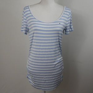 Y46 Maurices 24/7 Blue White Stripe Tee Ruched Med
